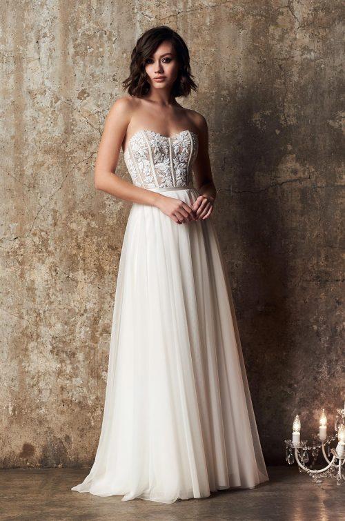 Strapless Tulle Skirt Wedding Dress - Style #2313 | Mikaella Bridal