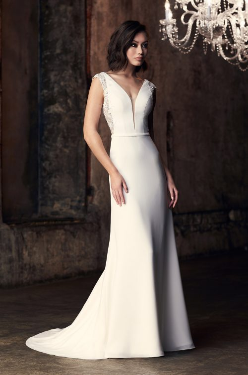 Flowing Crêpe Wedding Dress - Style #2314 | Mikaella Bridal