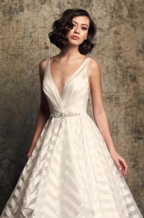 Whimsical Striped Organza Wedding Dress - Style #2315 | Mikaella Bridal