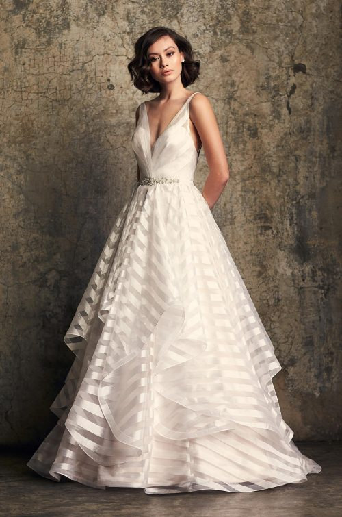 Whimsical Striped Organza Wedding Dress - Style #2315 | Mikaella Bridal