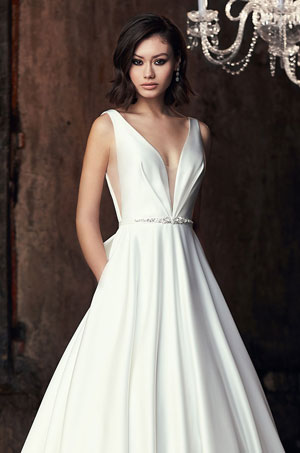 Satin Plunging Neckline Wedding Dress - Style #2306 | Mikaella Bridal
