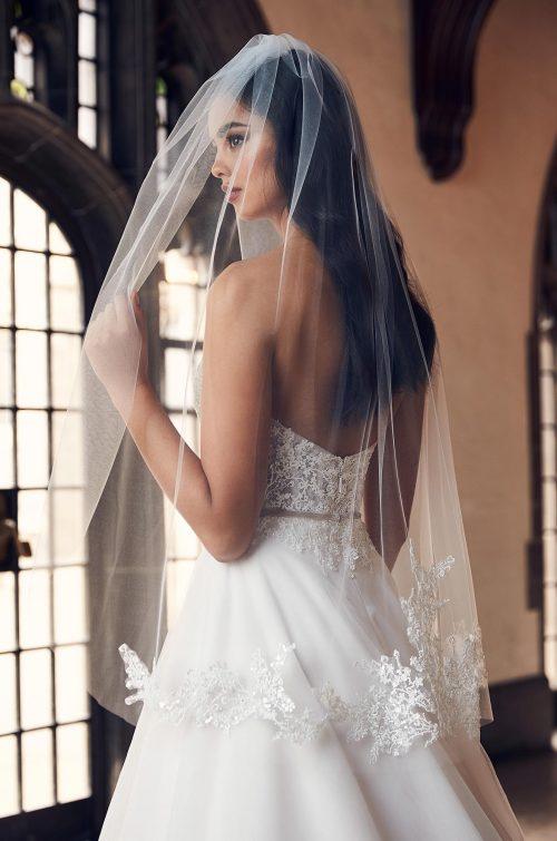Glamorous Beaded Lace Veil - Style #VM495F | Mikaella Bridal