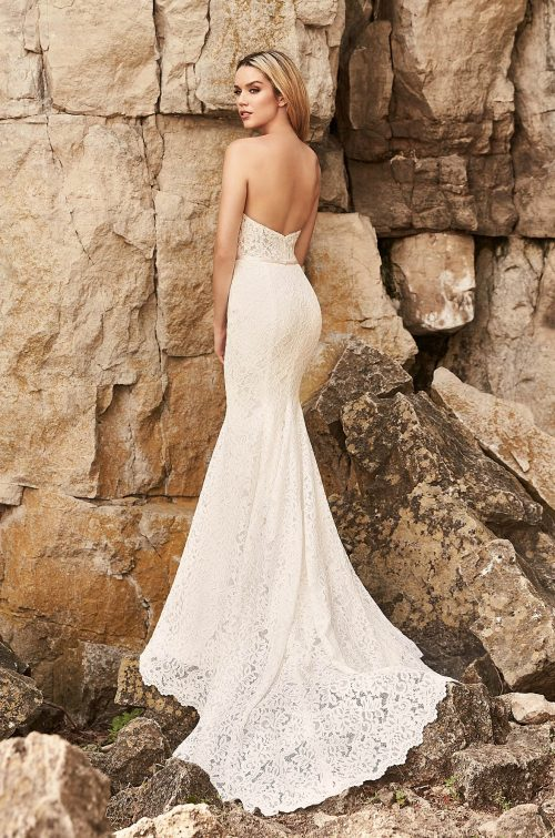 Plunging Notched Neckline Wedding Dress - Style #2326 | Mikaella Bridal