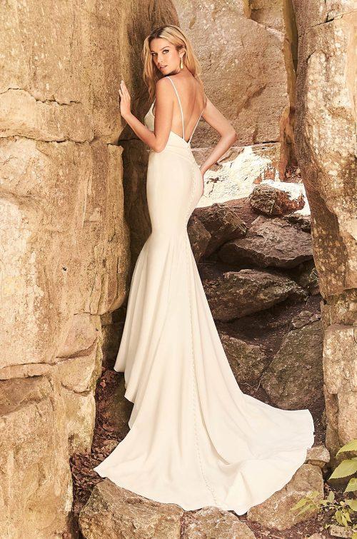 Hip-Hugging Crêpe Wedding Dress - Style #2328 | Mikaella Bridal