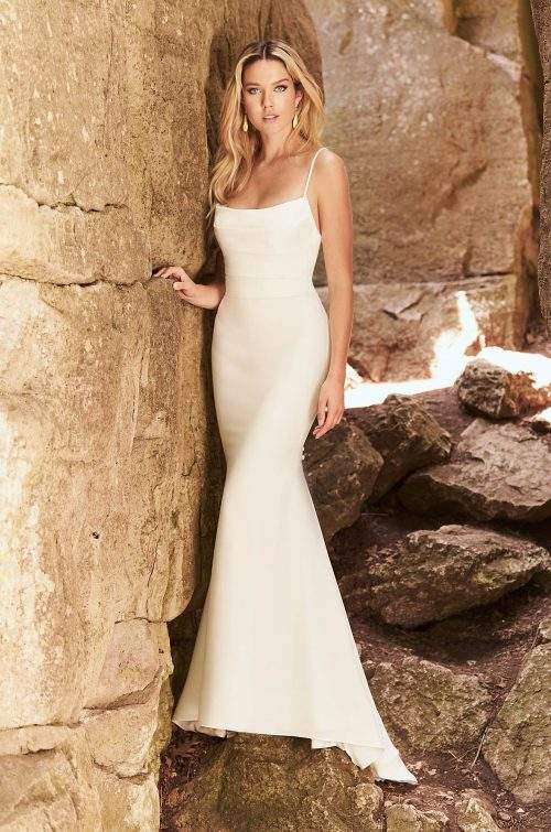 Hip-Hugging Crêpe Wedding Dress - Style #2328 | Mikaella Bridal
