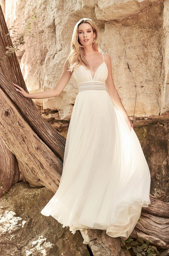 Flowing Boho Wedding Dress - Style #2329 | Mikaella Bridal