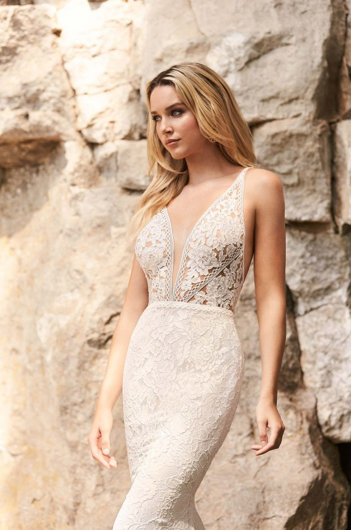 Contemporary Lace Wedding Dress - Style #2330 | Mikaella Bridal