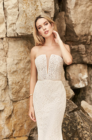 Plunging Notched Neckline Wedding Dress - Style #2326 | Mikaella Bridal